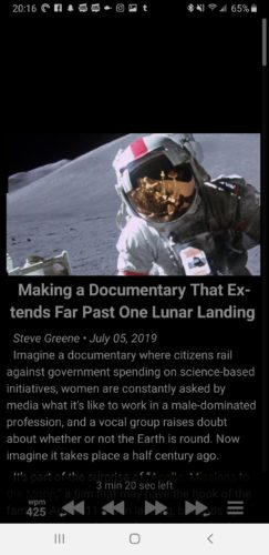 "Screenshot from the Reedy Android app showing the featured image of an astronaut on the lunar surface, the headline, ""Making a documentary that extends past one lunar landing,"" and the opening paragraph of the article on a black background with the speed reading controls along the bottom of the screen."